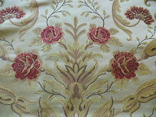 CORAGGIO TEXTILE RED ROSES GOLD FLOURISHES ON LIGHT TAN 3Y