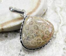 925 Sterling Silver Overlay PENDANT Jewelry   FOSSILIZED CORAL 1 3/4 in L21-013