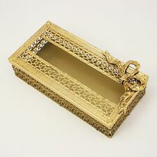 Vtg Stylebuilt Brass Filigree & Bow Tissue Kleenex Box Bath Vanity Holder 1236