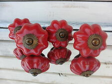 Red Ceramic with Brass Base Scallop Pumpkin DRAWER PULL KNOB ~ Home Decor