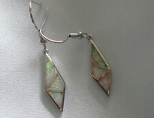 Lovely white fire opal inlay silver/rhodium plate dangle earrings
