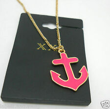 Anchor Necklace Forever 21 New Hot Pink Sailor Nautical Chain Length 10.5 inches