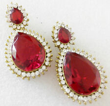 Glittering World Designer Red Ruby Stone Earrings