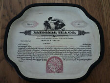 national tea company stock certificate Vintage Collectible Chic Metal Tray*