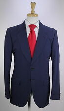 * YVES SAINT LAURENT * 2014 Solid Navy Blue 2-Btn Smooth Cotton Luxury Suit 40R
