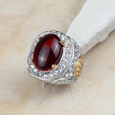 chevalière mixte stainless steel couleur argent /or cabochon rouge rubis T.59