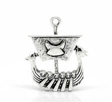 "10PCs Charm Silver Tone Viking Pirate Ship Charm Pendants 27x22mm(1 1/8""x7/8"")"