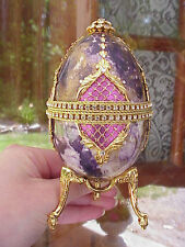REAL Carved Goose Egg Jewelry/Keepsake/Trinket Royal Purple/Gold Gift Music Box