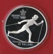 1988 (1986) $20 Calgary Olympic Sterling Silver Coin ( 1oz ASW) - Country Skiing