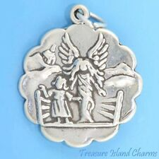 GUARDIAN ANGEL WITH CHILD .925 Solid Sterling Silver Charm Pendant