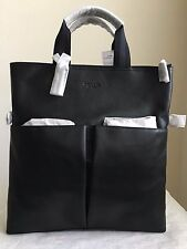 NWT COACH CHARLES FOLDOVER TOTE IN SMOOTH LEATHER in BLACK F54759