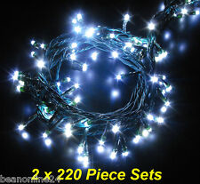 2 x 220 Piece Cool White LED Fairy / Wedding Light Set w/ 8 Function Controller