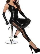 Sexy Women Leotard Bodysuit Black Leather Wet Look Cat Suit Jumpsuit Clubwear