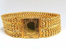 14kt. yellow gold vintage wide caliber bracelet book deco lock 4 row 7.75