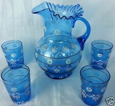 Antique Enameled Blue Pitcher 4 Tumblers Water Lemonade Set Victorian Hand paint