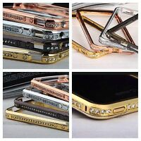 DIAMOND CRYSTAL BLING METAL ALUMINIUM BUMPER CASE COVER FITS APPLE IPHONE MODELS