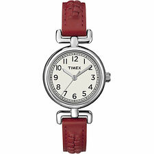 Timex T2N661, Women's Red Leather Strap Watch, T2N6619J