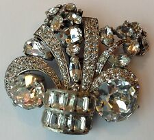 VINTAGE EISENBERG ORIGINAL SIGNED CLEAR RHINESTONE DRESS CLIP BROOCH