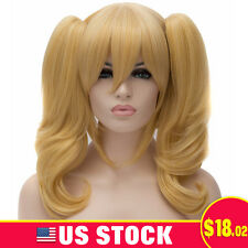 WOMEN COSPLAY WIG SYNTHETIC BLONDE FLUFFY CURLY WIGS CLIP ON 2 CURLY PONYTAILS