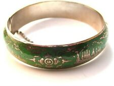 Vintage Siam Sterling Dark Forest Green Niello Dancer Bangle Bracelet