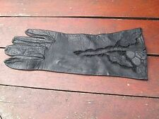 Vintage Ladies Dressy Leather Gloves. Openwork Embroidery Detail. Size S/M.