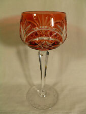 VINTAGE BOHEMIAN OR CZECHOSLOVAKIAN CRANBERRY CUT CRYSTAL WINE GOBLET GLASS
