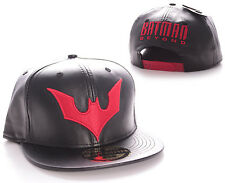 DC COMICS BATMAN BEYOND SYMBOL BLACK LEATHER EFFECT SNAPBACK CAP HAT *BRAND NEW*