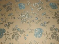 6Y new KRAVET upholstery JACQUARD fabric floral pattern china blue cream