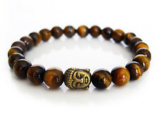 Handcrafted Semi Precious Stone Bracelet w/ Tigers Eye Beads & Brass Buddha Head
