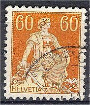 SWITZERLAND, 60 CENTIMES SITTING HELVETIA WITH SWORD, RARE SURFACE/CHALKY PAPER