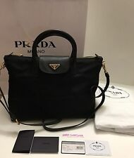 NWT Authentic PRADA women Tessuto Saffiano Nylon Tote Shoulder Bag BLACK BN2541