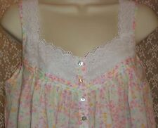 Eileen West Cotton Lawn Nightgown S Sleeveless Knee Length White w Floral Print