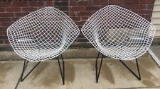 Vintage Pair of Mid Century Modern Harry Bertoia Knoll Diamond Chairs White