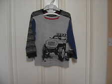 BNWT TWO BOYS LONG SLEEVE TOPS, 1 WITH MOTIF, 1 STRIPED, TO FIT AGE 18-23 MONTHS
