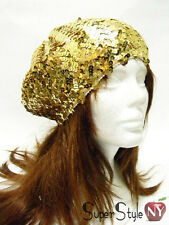 Design Gold Sequin Fashion Disco Club Oversized Slutchy Style Beret Hat
