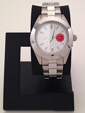DKNY WOMENS JITNEY STAINLESS STEEL WATCH WITH WHITE DIAL & SMALL RED DIAL NY2131