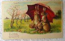 GERMAN EASTER POSTCARD TWO HUMANIZED RABBITS UMBRELLA BASKET OF EGGS #dd5