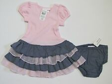 BONNIE BABY Pink & Blue Ruffled Dress from Cracker Barrel w Panty NWT 18 Months
