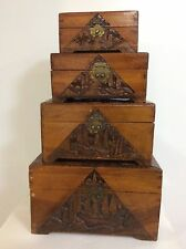 COMPLETE SET OF FOUR ANTIQUE 19C WOOD HAND CARVED NESTING CHESTS SAILING SHIPS