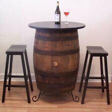 "White Oak Whiskey Barrel Table-30"" Table Top- (2) 29"" Bar Stools-Iron Stand"