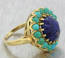 1960s Vintage Victorian Estate 14k Solid Yellow Gold Turquoise Lapis Lazuli Ring
