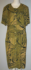 MARKEDWARDS STUDIO Size 16 100% Rayon Green~Yellow Dress (Made in Canada)