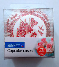 72 PINK WILLOW PATTERN CUPCAKE CASES 60gsm PAPER WHITE BACKGROUND CAKE BAKING
