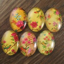 6pcs Yellow Base Flower Bird Butterfly Glass Oval Cameo Cabochon 18x25mm - A