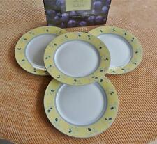 SET OF 4 ROYAL DOULTON CHINA BLUEBERRY DINNER PLATES YELLOW RIM BLUEBERRIES