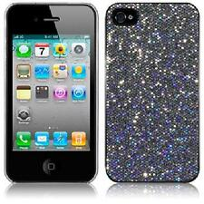 Silver Black Glitter Disco Bling Hard Back Cover Case For Apple iPhone 4/4s