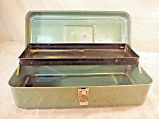Vintage Green Metal Tackle or Tool Box with Ruler 1 Tray Storage Utility Toolbox