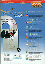 Decadry OLW-4798 Metallic Silver Cd DVD Labels 24 CD Permanent Blank Labels