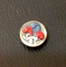 """Vintage 5/8"""" France Red White And Blue FLUR DE LIS Metal Button"""