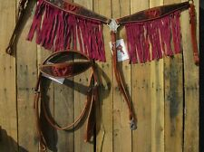 WESTERN HEADSTALL BREAST COLLAR PINK FRINGE SHOW TACK SET HORSE LEATHER BRIDLE